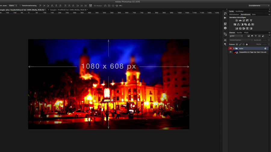 Das Google + Hintergrundbild als PSD -Datei im Aufbau