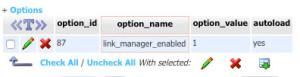 Option Wert für Link Manager ädnern